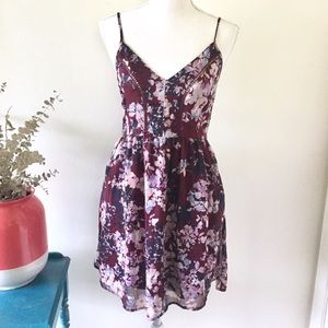Band of Gypsies | Maroon Floral Dress with Pockets